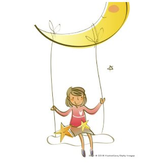 Girl swinging on a rope hanging from crescent moon post cards