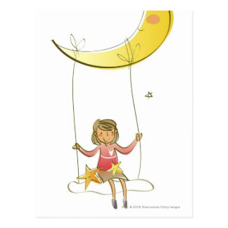 Girl swinging on a rope hanging from crescent moon postcard