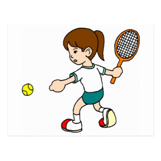 Girl Swings Tennis Racquet Postcard