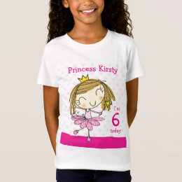 GIRL T-SHIRT Age 6 cute pink princess 6th Birthday