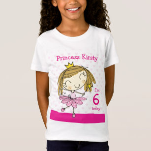 GIRL T SHIRT Age 6 Cute Pink Princess 6th Birthday