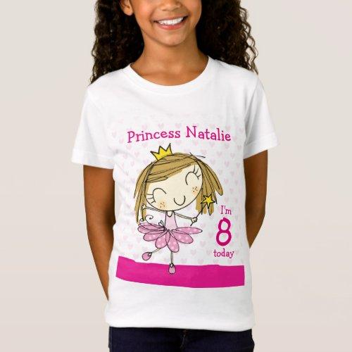GIRL T_SHIRT Age 8 cute pink princess 8th Birthday