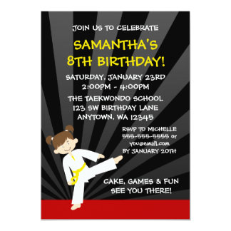 Girl Taekwondo Karate Yellow Belt Birthday Card