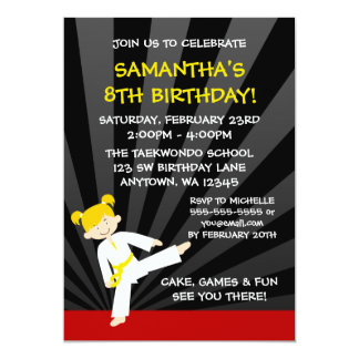 Girl Taekwondo Karate Yellow Belt Blonde Birthday 5x7 Paper Invitation Card