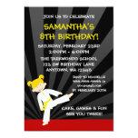 Girl Taekwondo Karate Yellow Belt Blonde Birthday Personalized Invitations