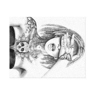 Girl tattoo rasta canvas print