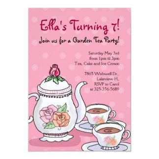Girl Tea Party Themed Birthday Invitations