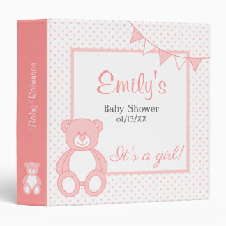 Girl Teddy Bear Baby Album Binder