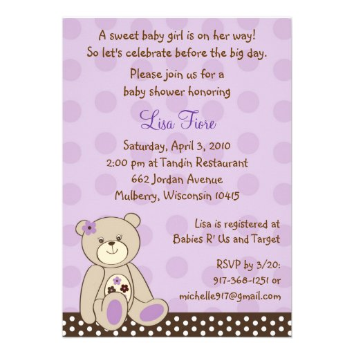 Personalized teddy bear baby shower invitations girl teddy bear baby shower invitations filmwisefo