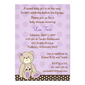 Girl Teddy Bear Baby Shower Invitations