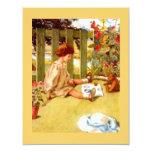 """Girl & Teddy Bear Garden Tea Party Invitations 4.25"""" X 5.5"""" Invitation Card"""