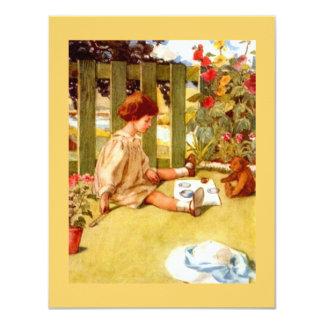 Girl & Teddy Bear Garden Tea Party Invitations