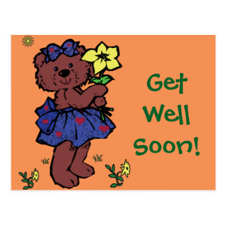 Girl Teddy Bear Holding Flower Postcard