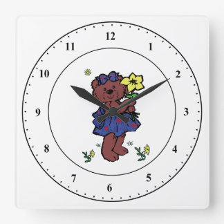 Girl Teddy Bear Holding Flower Square Wall Clock