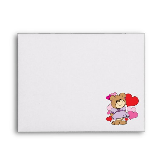 girl  teddy bear in love lots of hearts design envelope
