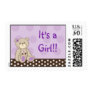 Girl Teddy Bear It's a girl Postage Stamps