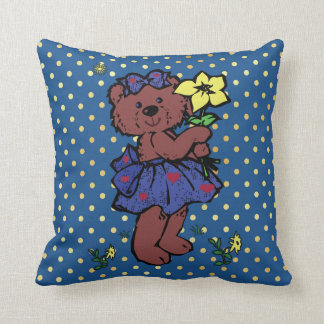 Girl Teddy Bear With Polka Dots Holding Flower Throw Pillow
