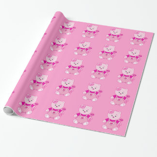 Girl Teddy Bear with Rattle in Baby Girl Pink Wrapping Paper