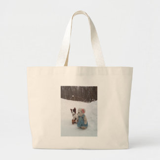 Girl Teddy with sled Large Tote Bag