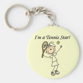 Girl Tennis Star T-shirts and Gifts Basic Round Button Keychain