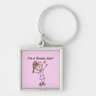 Girl Tennis Star T-shirts and Gifts Silver-Colored Square Keychain