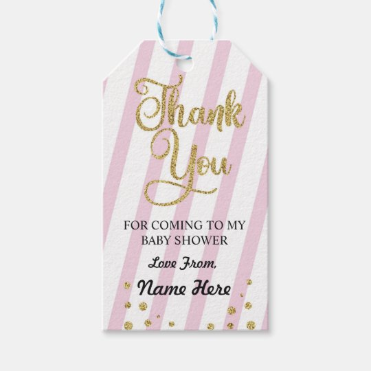 Girl Thank You Baby Shower Stripe Pink Glitter Gift Tags Zazzle