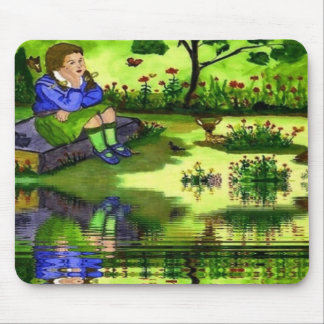 Girl Thinking Mouse Pad