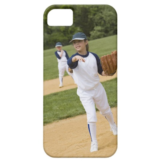 Girl throwing in little league softball game iPhone SE/5/5s case