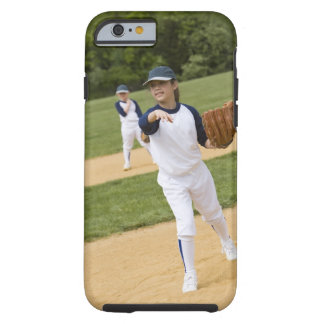Girl throwing in little league softball game iPhone 6 case