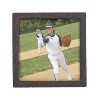 Girl throwing in little league softball game premium jewelry box