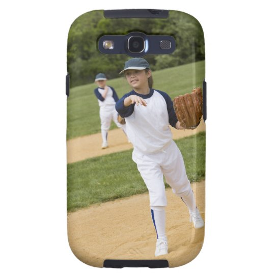 Girl throwing in little league softball game samsung galaxy s3 case