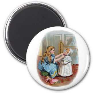 Girl Ties Bonnet on Baby 2 Inch Round Magnet