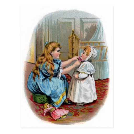 Girl Ties Bonnet on Baby Post Cards