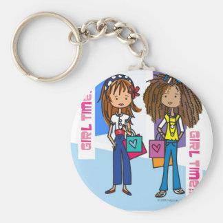 Girl Time Basic Round Button Keychain