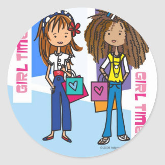 Girl Time Classic Round Sticker