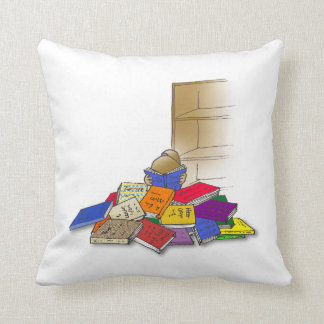 Girl toddler surrounded by books. Pillow. Throw Pillow