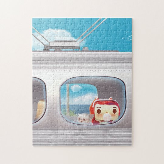 Girl together with cat looking out train Window Jigsaw Puzzle