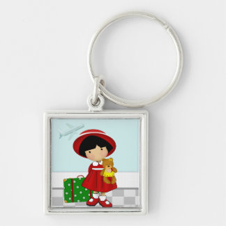 Girl Traveler Square Key Ring Keychain