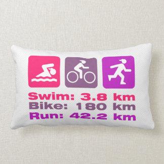 Girl Triathlete Pink Purple Magenta Swim Bike Run Lumbar Pillow