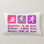 Girl Triathlete Pink Purple Magenta Swim Bike Run Pillow