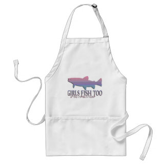 GIRL TROUT FISHING ADULT APRON