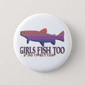 GIRL TROUT FISHING BUTTON