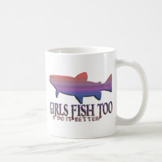 GIRL TROUT FISHING COFFEE MUG
