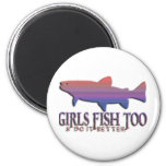 GIRL TROUT FISHING FRIDGE MAGNET