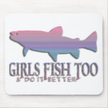 GIRL TROUT FISHING MOUSE PADS