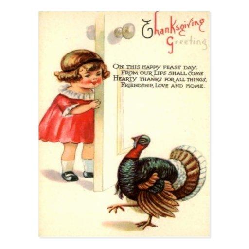 Girl & Turkey Postcard
