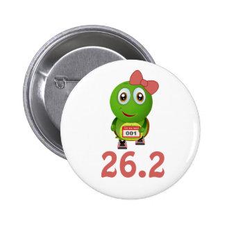 Girl Turtle 26.2 (marathon) 2 Inch Round Button