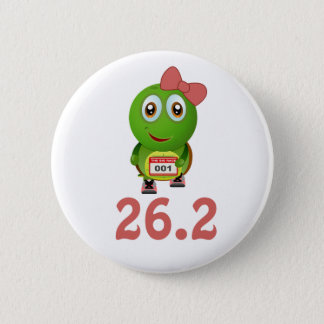 Girl Turtle 26.2 (marathon) Pinback Button