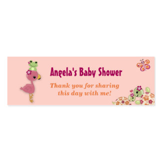 Girl TURTLE Baby Shower Favor Gift Tags OUP Double-Sided Mini Business Cards (Pack Of 20)