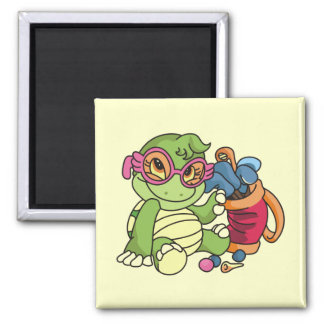 Girl Turtle Golfer Tshirts and Gifts 2 Inch Square Magnet
